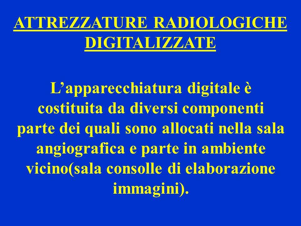 ATTREZZATURE RADIOLOGICHE DIGITALIZZATE Lapparecchiatura digitale è costituita da diversi componenti parte dei quali sono allocati nella sala angiogra