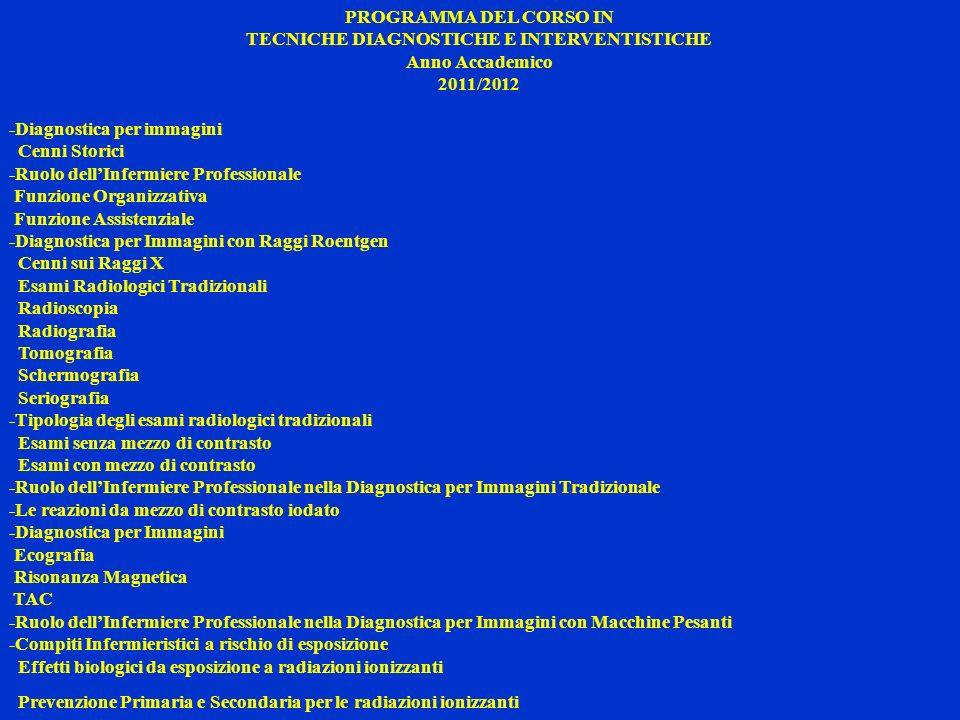 PROGRAMMA DEL CORSO IN TECNICHE DIAGNOSTICHE E INTERVENTISTICHE Anno Accademico 2011/2012 -Diagnostica per immagini Cenni Storici -Ruolo dellInfermier