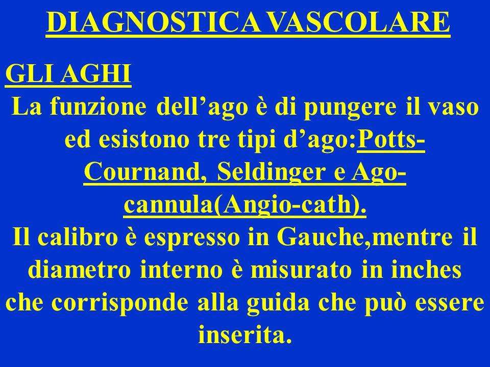DIAGNOSTICA VASCOLARE GLI AGHI La funzione dellago è di pungere il vaso ed esistono tre tipi dago:Potts- Cournand, Seldinger e Ago- cannula(Angio-cath