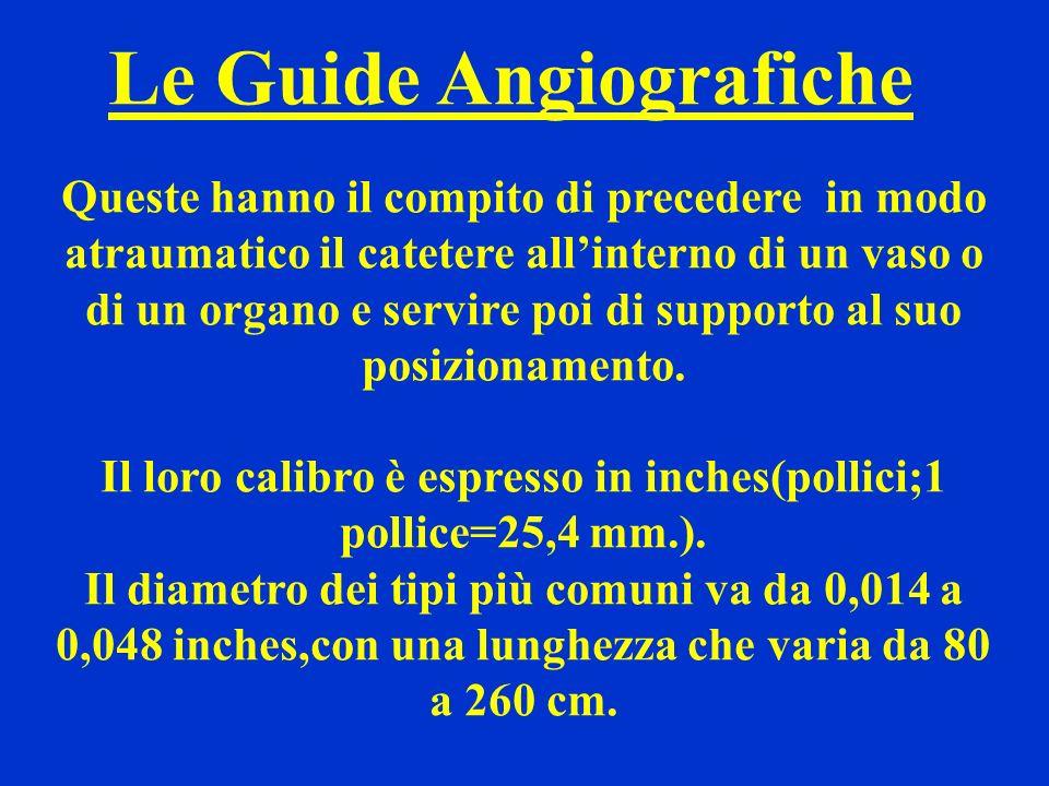Le Guide Angiografiche Queste hanno il compito di precedere in modo atraumatico il catetere allinterno di un vaso o di un organo e servire poi di supp
