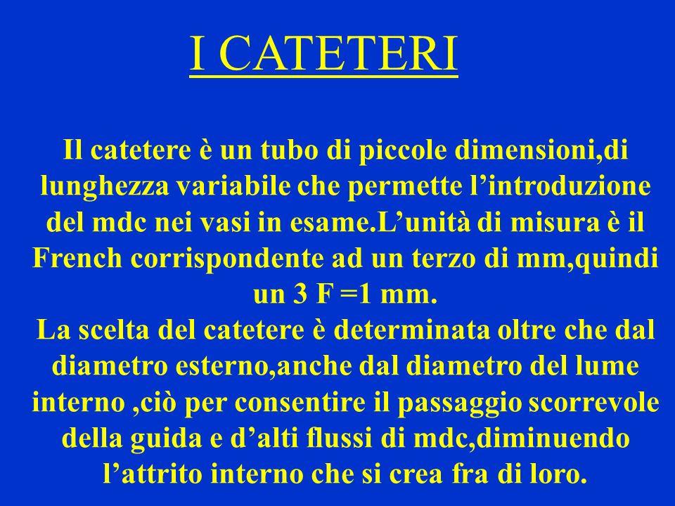 I CATETERI Il catetere è un tubo di piccole dimensioni,di lunghezza variabile che permette lintroduzione del mdc nei vasi in esame.Lunità di misura è