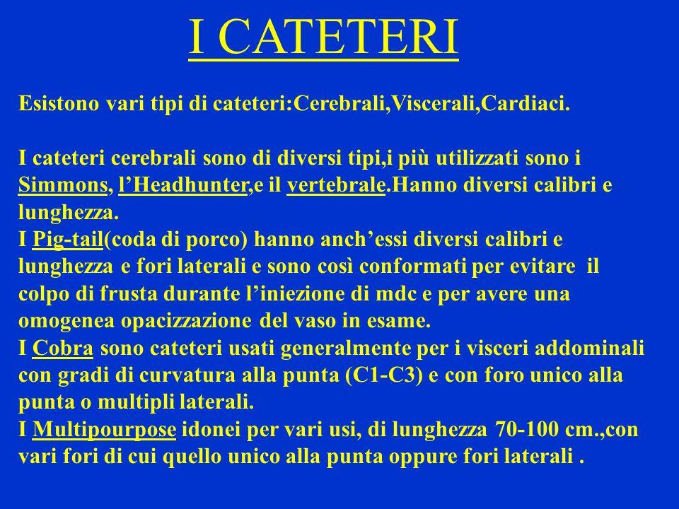 I CATETERI Esistono vari tipi di cateteri:Cerebrali,Viscerali,Cardiaci. I cateteri cerebrali sono di diversi tipi,i più utilizzati sono i Simmons, lHe