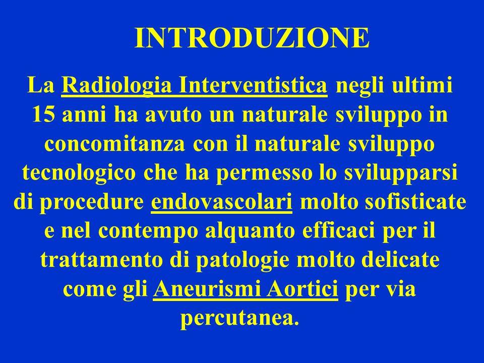 INTRODUZIONE La Radiologia Interventistica negli ultimi 15 anni ha avuto un naturale sviluppo in concomitanza con il naturale sviluppo tecnologico che