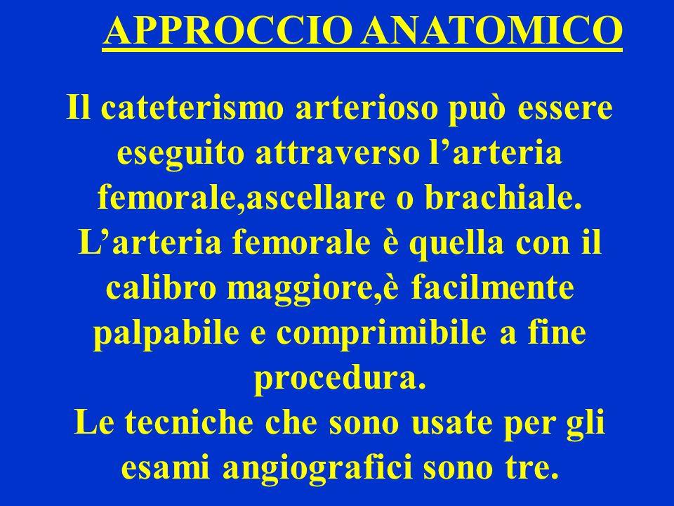 APPROCCIO ANATOMICO Il cateterismo arterioso può essere eseguito attraverso larteria femorale,ascellare o brachiale. Larteria femorale è quella con il