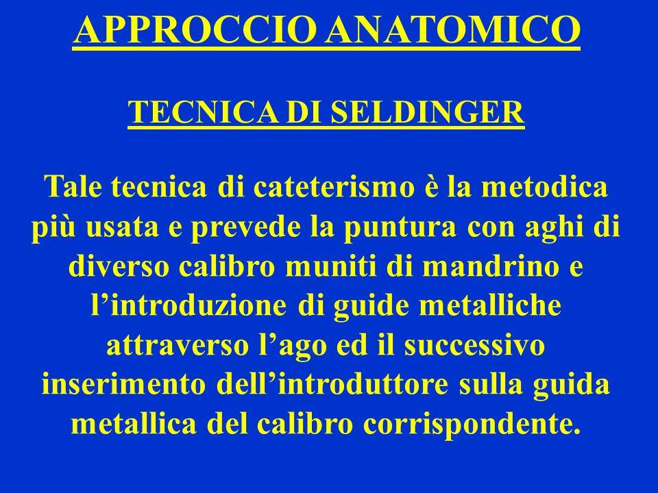 APPROCCIO ANATOMICO TECNICA DI SELDINGER Tale tecnica di cateterismo è la metodica più usata e prevede la puntura con aghi di diverso calibro muniti d