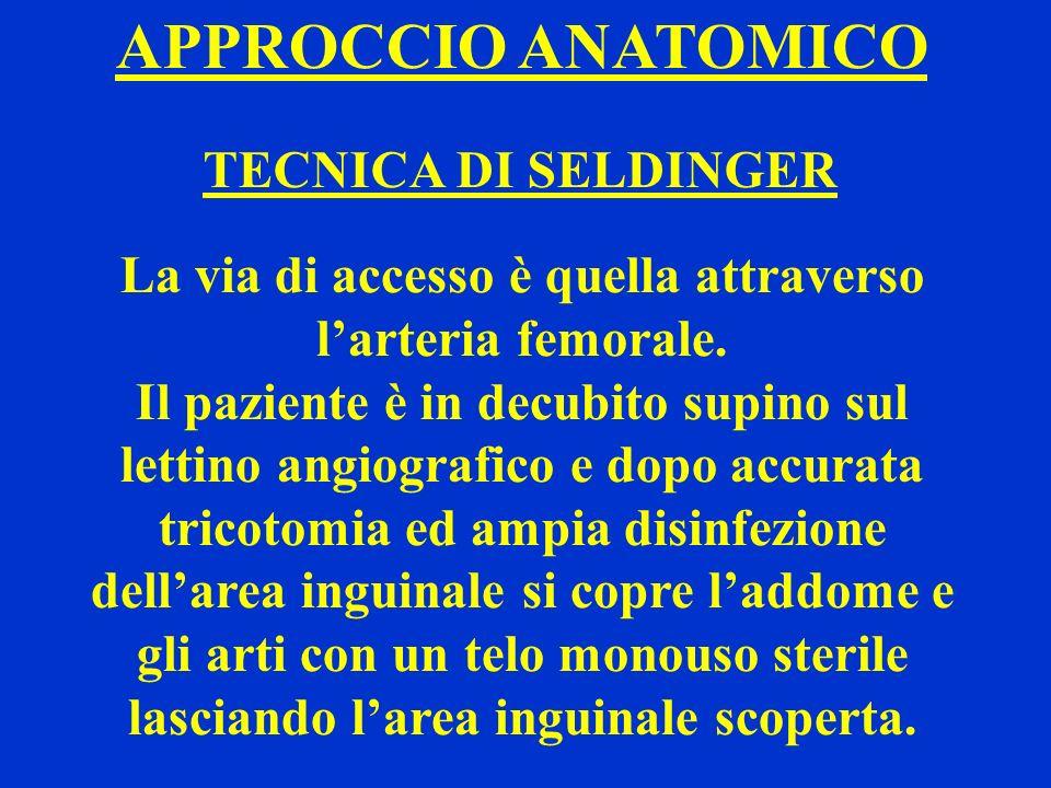 APPROCCIO ANATOMICO TECNICA DI SELDINGER La via di accesso è quella attraverso larteria femorale. Il paziente è in decubito supino sul lettino angiogr