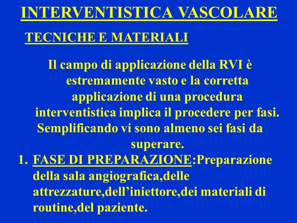 INTERVENTISTICA VASCOLARE TECNICHE E MATERIALI Il campo di applicazione della RVI è estremamente vasto e la corretta applicazione di una procedura int