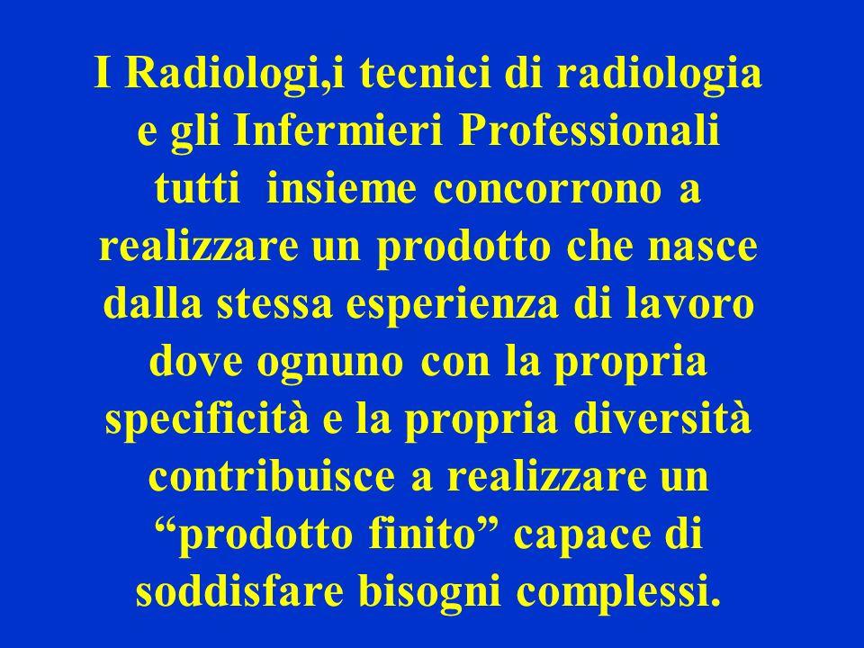 I Radiologi,i tecnici di radiologia e gli Infermieri Professionali tutti insieme concorrono a realizzare un prodotto che nasce dalla stessa esperienza