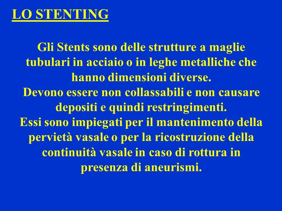 LO STENTING Gli Stents sono delle strutture a maglie tubulari in acciaio o in leghe metalliche che hanno dimensioni diverse. Devono essere non collass