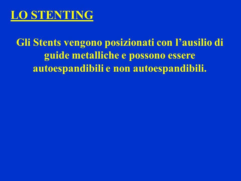LO STENTING Gli Stents vengono posizionati con lausilio di guide metalliche e possono essere autoespandibili e non autoespandibili.