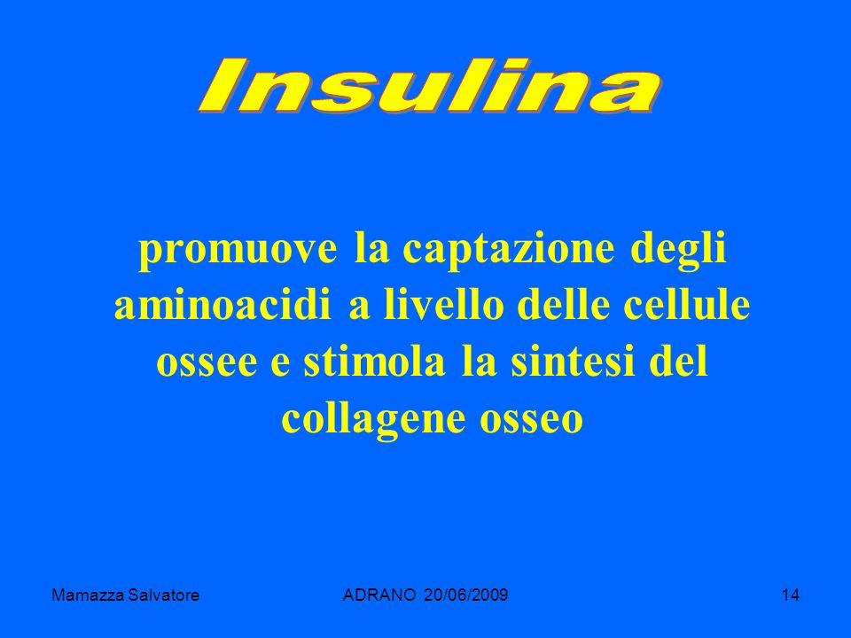 Mamazza SalvatoreADRANO 20/06/200914 promuove la captazione degli aminoacidi a livello delle cellule ossee e stimola la sintesi del collagene osseo