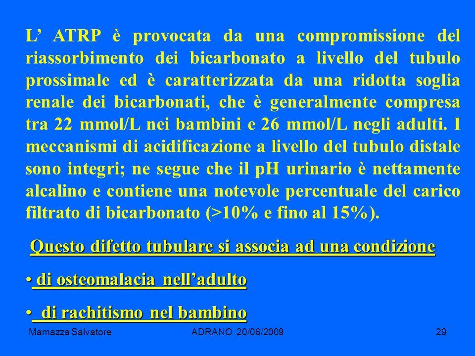 Mamazza SalvatoreADRANO 20/06/200929 L ATRP è provocata da una compromissione del riassorbimento dei bicarbonato a livello del tubulo prossimale ed è