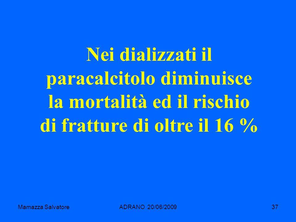 Mamazza SalvatoreADRANO 20/06/200937 Nei dializzati il paracalcitolo diminuisce la mortalità ed il rischio di fratture di oltre il 16 %