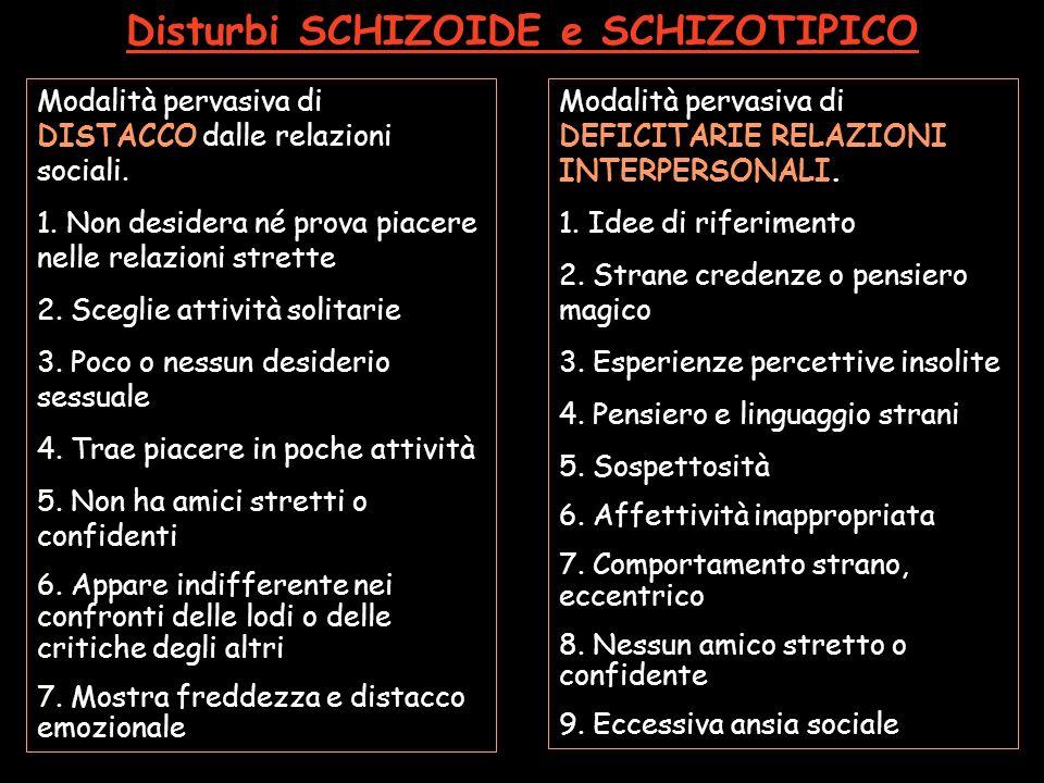 Disturbi SCHIZOIDE e SCHIZOTIPICO Modalità pervasiva di DISTACCO dalle relazioni sociali. 1. Non desidera né prova piacere nelle relazioni strette 2.
