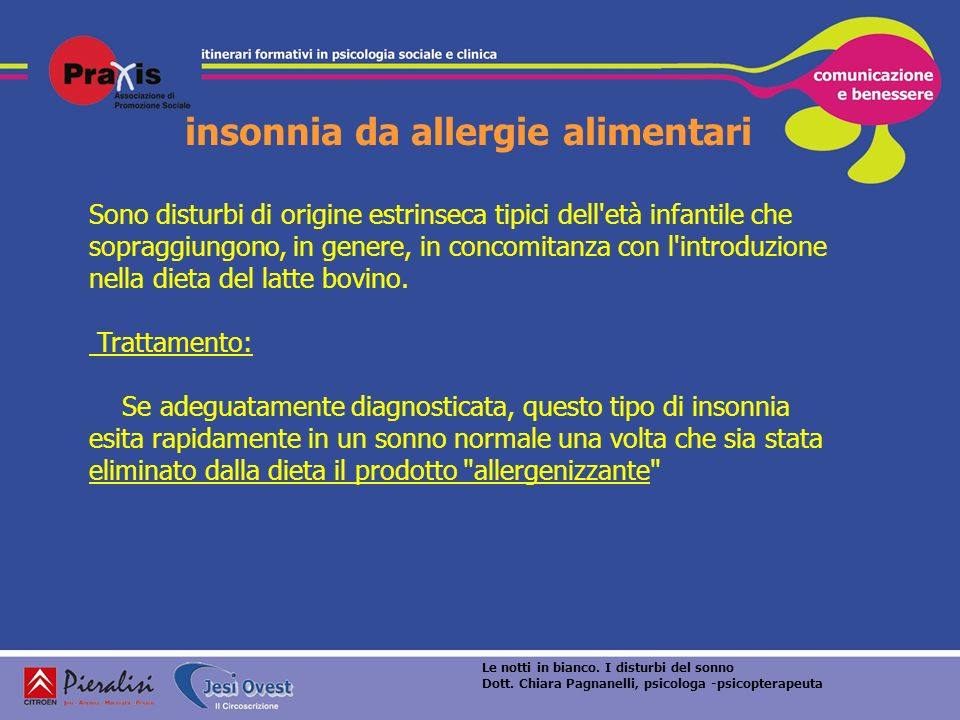 insonnia da allergie alimentari Sono disturbi di origine estrinseca tipici dell'età infantile che sopraggiungono, in genere, in concomitanza con l'int