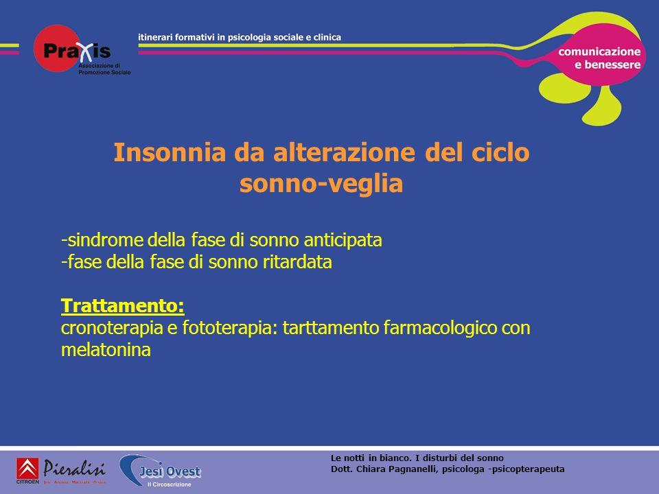 Insonnia da alterazione del ciclo sonno-veglia -sindrome della fase di sonno anticipata -fase della fase di sonno ritardata Trattamento: cronoterapia