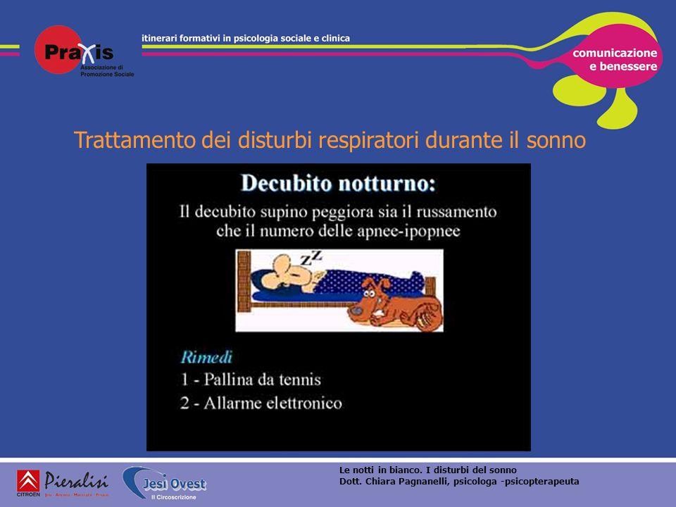 Trattamento dei disturbi respiratori durante il sonno Le notti in bianco. I disturbi del sonno Dott. Chiara Pagnanelli, psicologa -psicopterapeuta