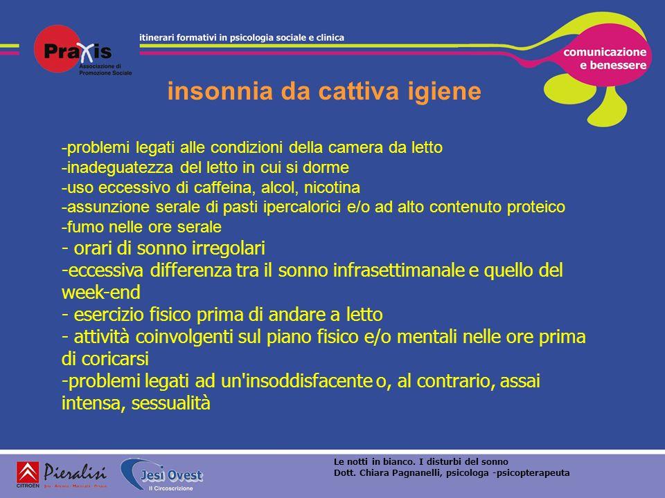 insonnia da cattiva igiene -problemi legati alle condizioni della camera da letto -inadeguatezza del letto in cui si dorme -uso eccessivo di caffeina,