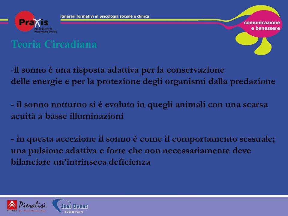 Teoria Circadiana -il sonno è una risposta adattiva per la conservazione delle energie e per la protezione degli organismi dalla predazione - il sonno