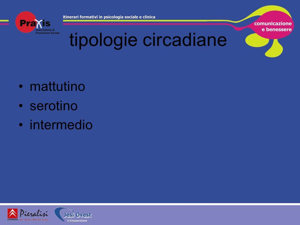 tipologie circadiane mattutino serotino intermedio