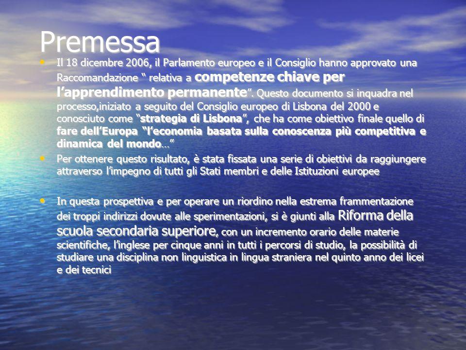 Premessa Il 18 dicembre 2006, il Parlamento europeo e il Consiglio hanno approvato una Raccomandazione relativa a competenze chiave per lapprendimento permanente.