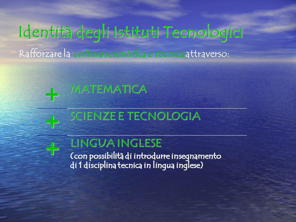 Identità degli Istituti Tecnologici Rafforzare la cultura scientifica e tecnica attraverso: +MATEMATICA + SCIENZE E TECNOLOGIA + LINGUA INGLESE (con possibilità di introdurre insegnamento di 1 disciplina tecnica in lingua inglese)
