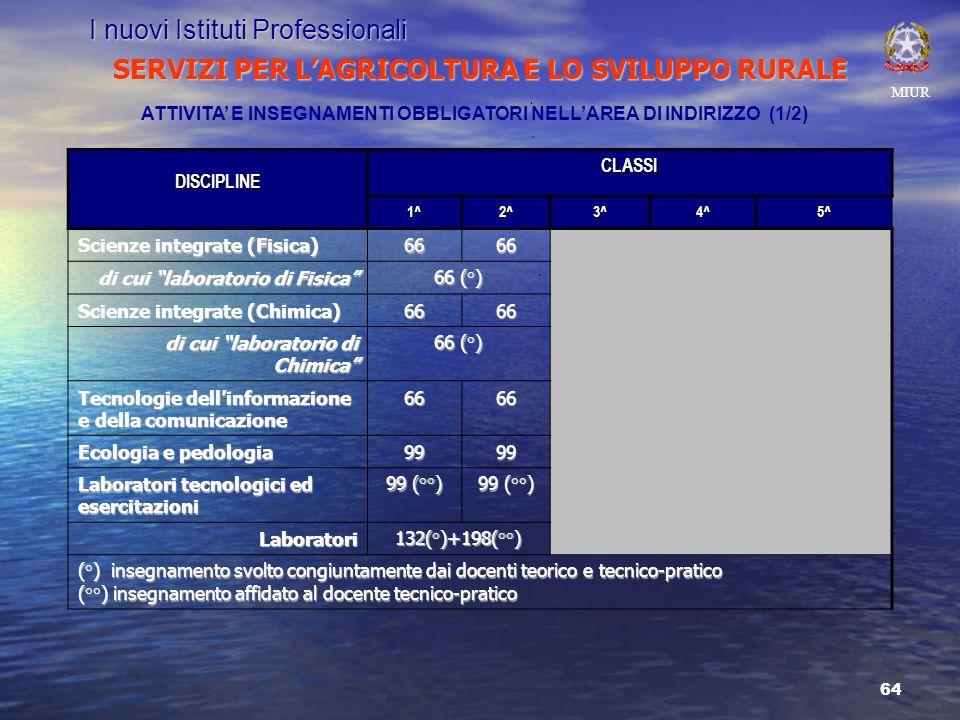 64 SERVIZI PER LAGRICOLTURA E LO SVILUPPO RURALE MIUR I nuovi Istituti Professionali ATTIVITA E INSEGNAMENTI OBBLIGATORI NELLAREA DI INDIRIZZO (1/2)DISCIPLINECLASSI1^2^3^4^5^ Scienze integrate (Fisica) 6666 di cui laboratorio di Fisica 66 (°) Scienze integrate (Chimica) 6666 di cui laboratorio di Chimica 66 (°) Tecnologie dellinformazione e della comunicazione 6666 Ecologia e pedologia 9999 Laboratori tecnologici ed esercitazioni 99 (°°) Laboratori132(°)+198(°°) (°) insegnamento svolto congiuntamente dai docenti teorico e tecnico-pratico (°°) insegnamento affidato al docente tecnico-pratico