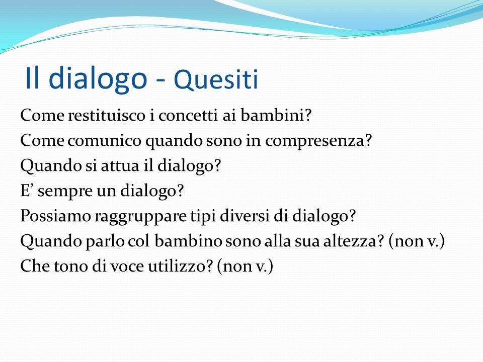Il dialogo - Quesiti Come restituisco i concetti ai bambini? Come comunico quando sono in compresenza? Quando si attua il dialogo? E sempre un dialogo