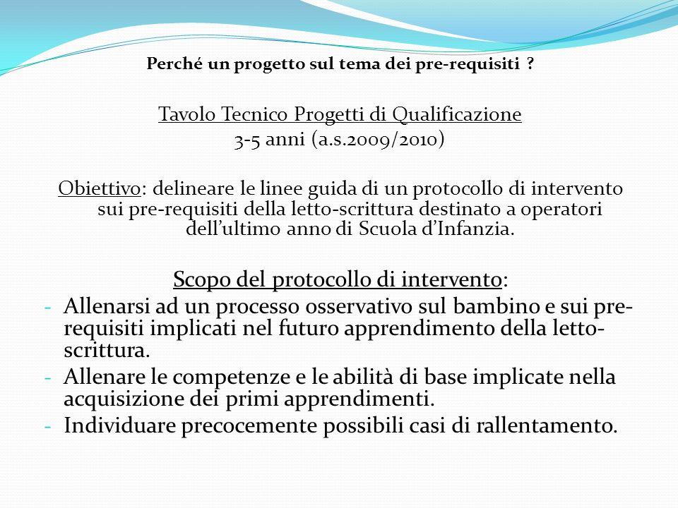 Perché un progetto sul tema dei pre-requisiti ? Tavolo Tecnico Progetti di Qualificazione 3-5 anni (a.s.2009/2010) Obiettivo: delineare le linee guida