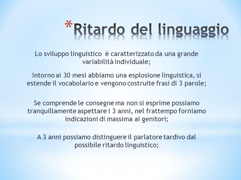 Lo sviluppo linguistico è caratterizzato da una grande variabilità individuale; Intorno ai 30 mesi abbiamo una esplosione linguistica, si estende il v
