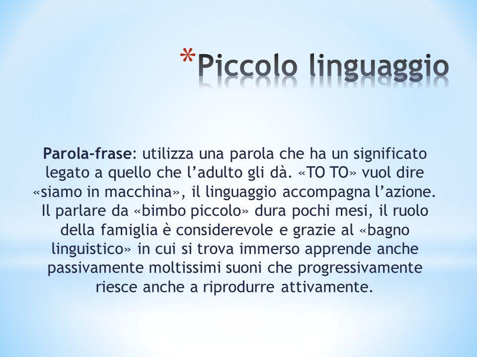 La conquista del linguaggio è caratterizzata dallabbandono del linguaggio infantile al quale si sostituisce una costruzione simile a quella delladulto.
