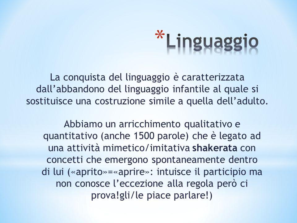La conquista del linguaggio è caratterizzata dallabbandono del linguaggio infantile al quale si sostituisce una costruzione simile a quella delladulto