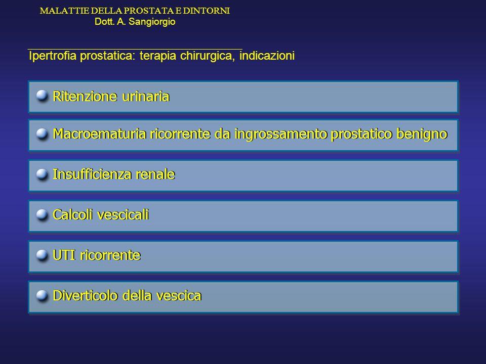 MALATTIE DELLA PROSTATA E DINTORNI Dott. A. Sangiorgio _____________________________________________ Ipertrofia prostatica: terapia chirurgica, indica