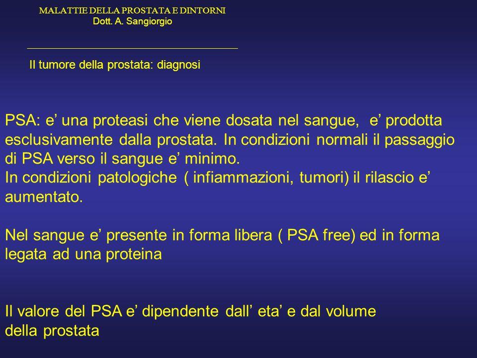 MALATTIE DELLA PROSTATA E DINTORNI Dott. A. Sangiorgio _____________________________________________ Il tumore della prostata: diagnosi PSA: e una pro