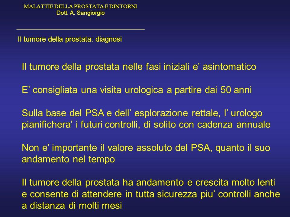 MALATTIE DELLA PROSTATA E DINTORNI Dott. A. Sangiorgio _____________________________________________ Il tumore della prostata: diagnosi Il tumore dell
