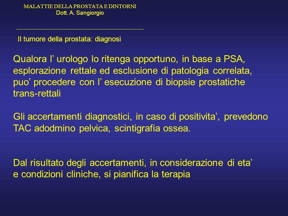 MALATTIE DELLA PROSTATA E DINTORNI Dott. A. Sangiorgio _____________________________________________ Il tumore della prostata: diagnosi Qualora l urol