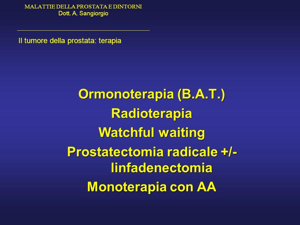 MALATTIE DELLA PROSTATA E DINTORNI Dott. A. Sangiorgio _____________________________________________ Il tumore della prostata: terapia Ormonoterapia (