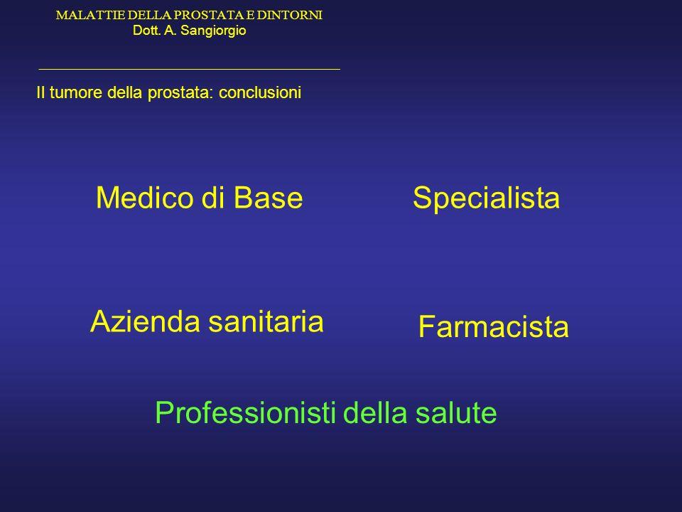 MALATTIE DELLA PROSTATA E DINTORNI Dott. A. Sangiorgio _____________________________________________ Il tumore della prostata: conclusioni Medico di B