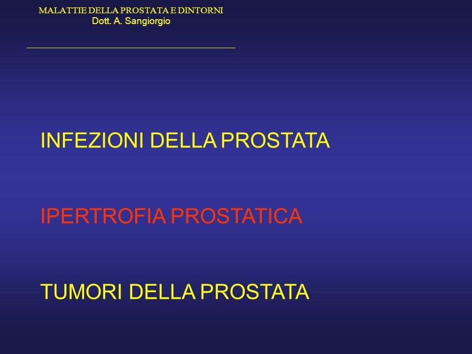 MALATTIE DELLA PROSTATA E DINTORNI Dott. A. Sangiorgio _____________________________________________ INFEZIONI DELLA PROSTATA IPERTROFIA PROSTATICA TU