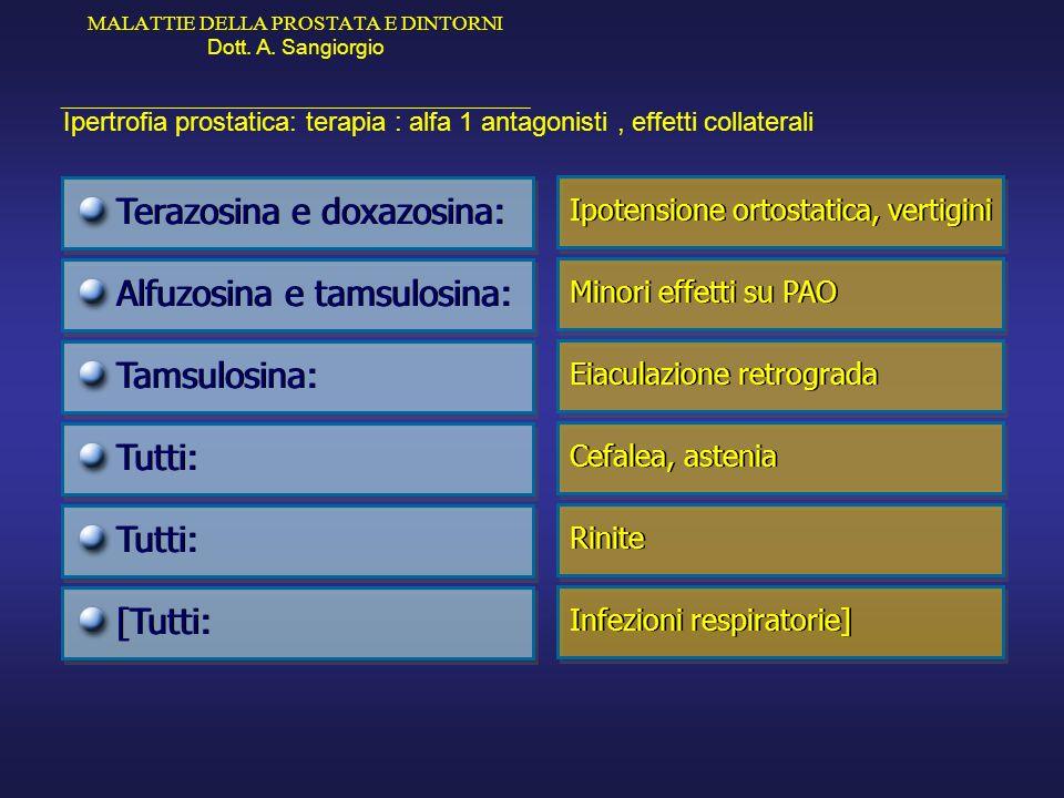 MALATTIE DELLA PROSTATA E DINTORNI Dott. A. Sangiorgio _____________________________________________ Ipertrofia prostatica: terapia : alfa 1 antagonis