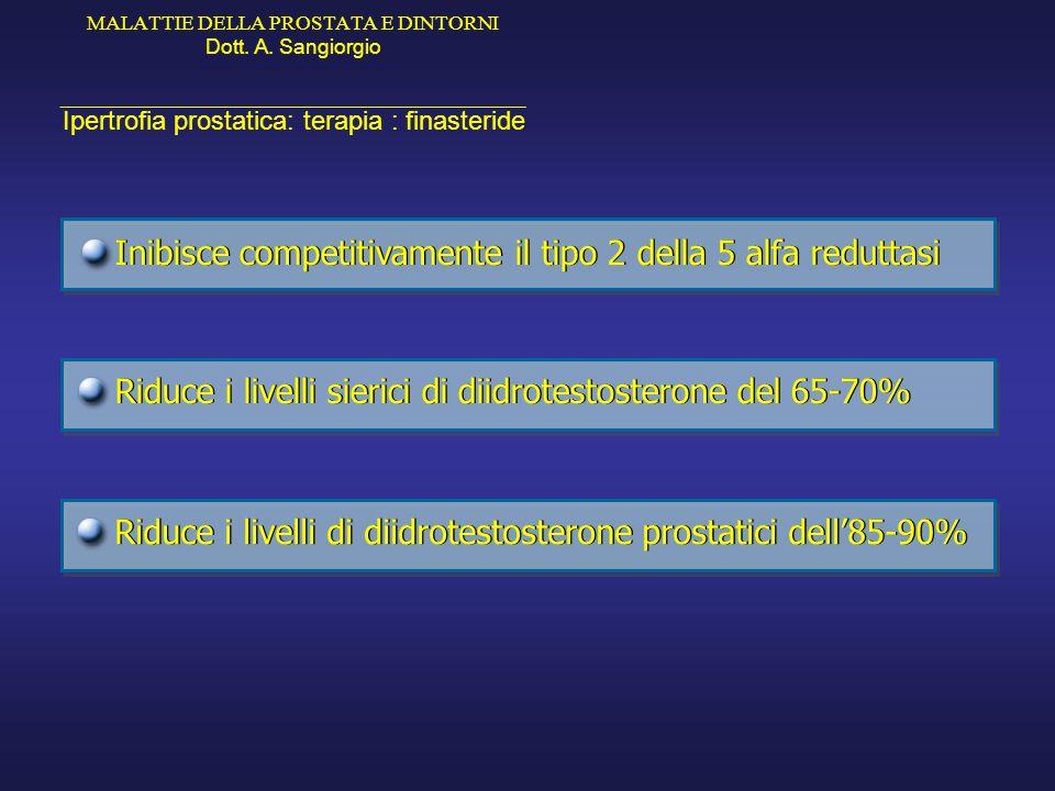 MALATTIE DELLA PROSTATA E DINTORNI Dott. A. Sangiorgio _____________________________________________ Ipertrofia prostatica: terapia : finasteride Inib
