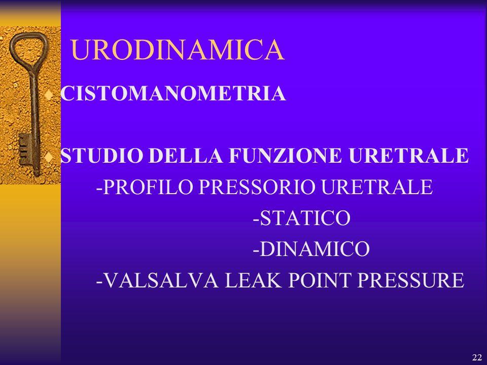 22 URODINAMICA CISTOMANOMETRIA STUDIO DELLA FUNZIONE URETRALE -PROFILO PRESSORIO URETRALE -STATICO -DINAMICO -VALSALVA LEAK POINT PRESSURE