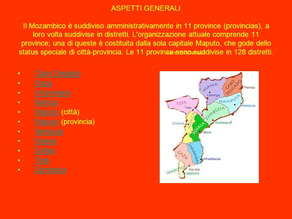 ASPETTI GENERALI Il Mozambico è suddiviso amministrativamente in 11 province (provincias), a loro volta suddivise in distretti.