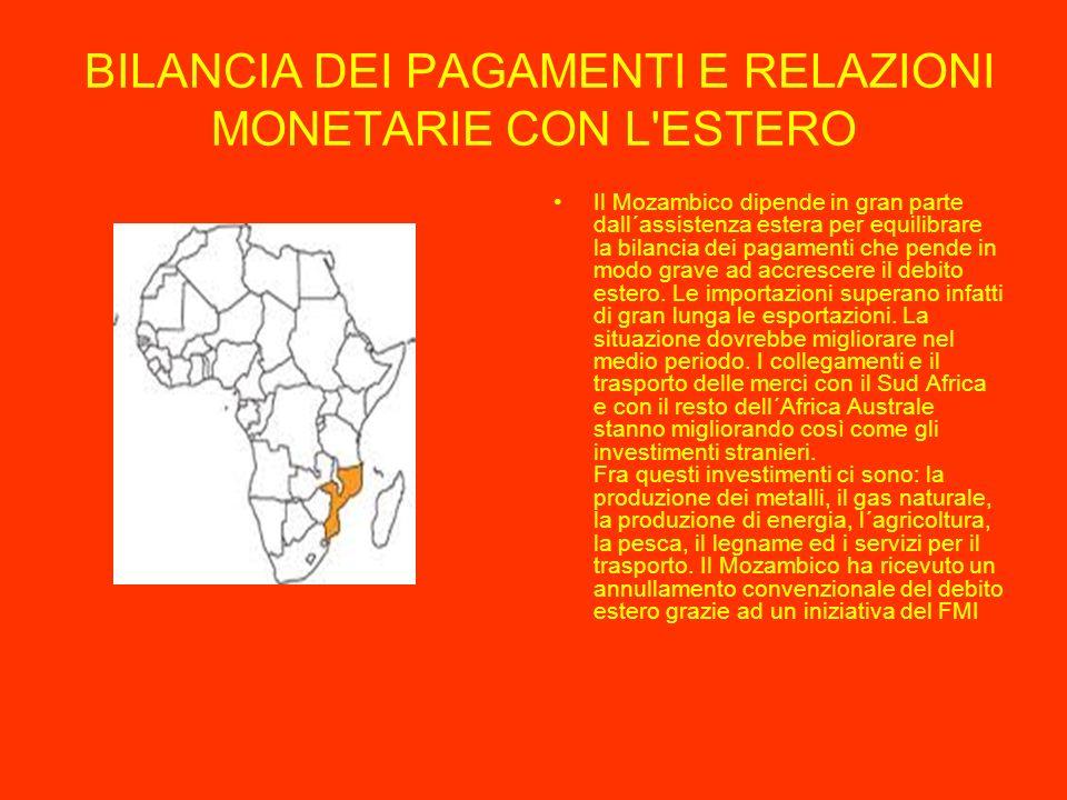 BILANCIA DEI PAGAMENTI E RELAZIONI MONETARIE CON L ESTERO Il Mozambico dipende in gran parte dall´assistenza estera per equilibrare la bilancia dei pagamenti che pende in modo grave ad accrescere il debito estero.