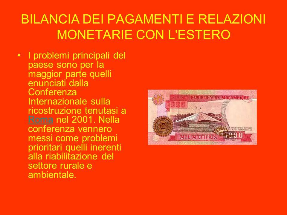 BILANCIA DEI PAGAMENTI E RELAZIONI MONETARIE CON L ESTERO I problemi principali del paese sono per la maggior parte quelli enunciati dalla Conferenza Internazionale sulla ricostruzione tenutasi a Roma nel 2001.