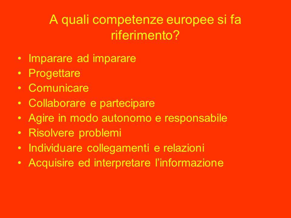 A quali competenze europee si fa riferimento.