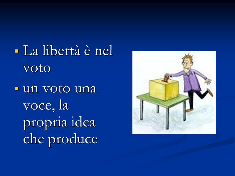 La libertà è nel voto La libertà è nel voto un voto una voce, la propria idea che produce un voto una voce, la propria idea che produce