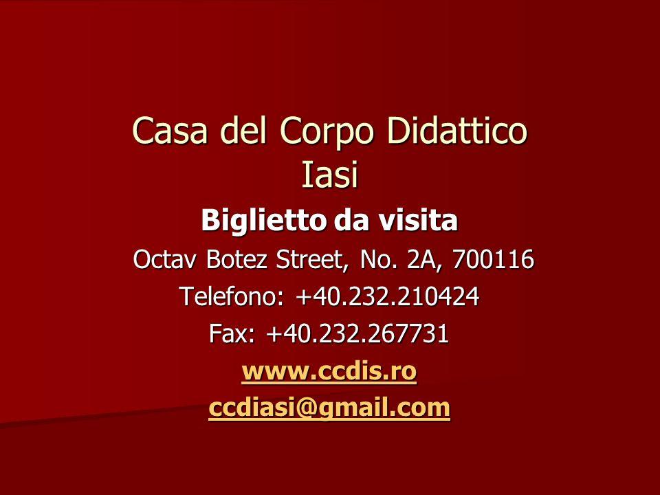 Casa del Corpo Didattico Iasi Biglietto da visita Octav Botez Street, No.