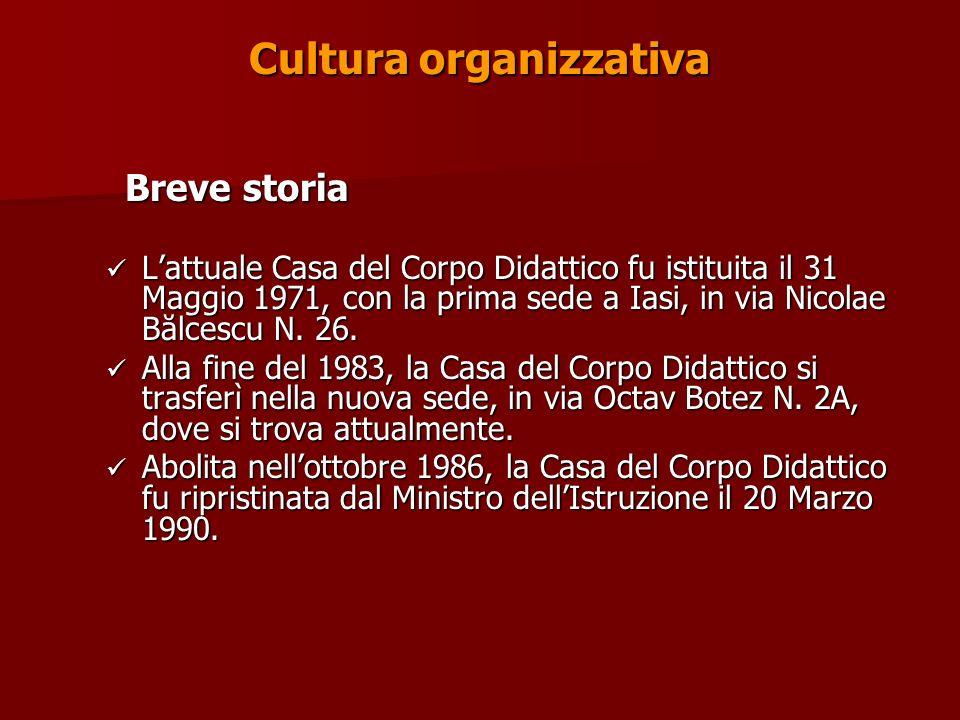 Cultura organizzativa Breve storia Breve storia Lattuale Casa del Corpo Didattico fu istituita il 31 Maggio 1971, con la prima sede a Iasi, in via Nicolae Bălcescu N.
