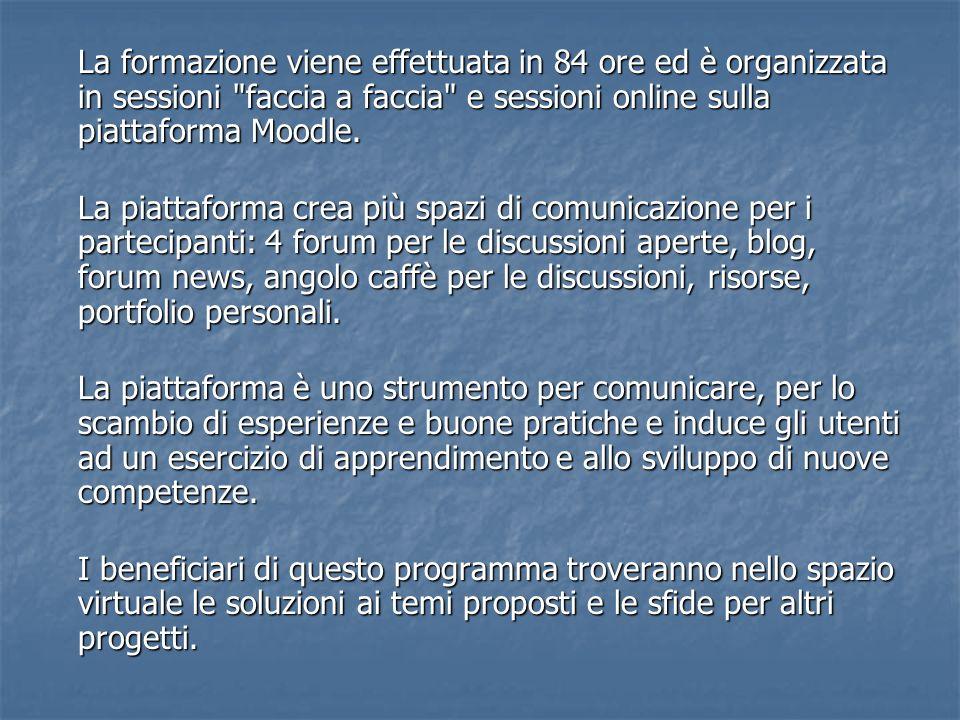 La formazione viene effettuata in 84 ore ed è organizzata in sessioni faccia a faccia e sessioni online sulla piattaforma Moodle.